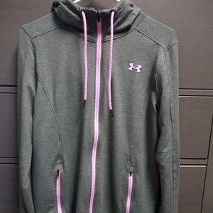 Gray w pink Under Armour zip hoodie